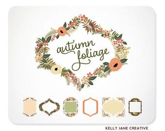 Peach and Green Clip Art | Wedding Wreaths, Frames, & Ribbon Banners | Greenery | Botanical Graphics
