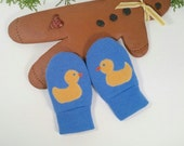 Warm Mittens for Babies. Fleece lined. Thumb-less. Blue with yellow ducks.