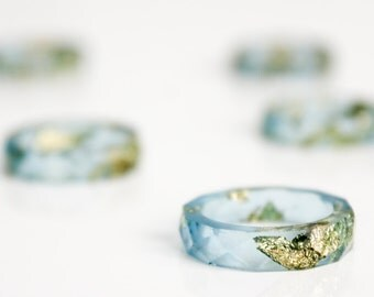RESERVED - ocean blue and gold size 5.5 thin multifaceted eco resin band ring