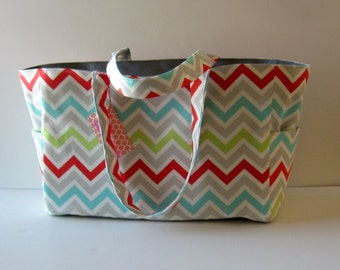 MADE TO ORDER Chevron Diaper Bag, School Bag, Work Bag, with Waterproof lining