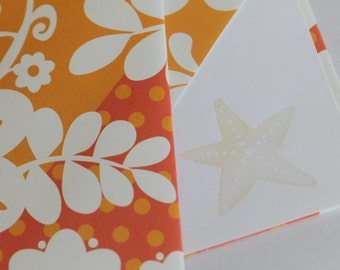 Set of 2 Stationery - Tropical Orange, Red Flowers with White Leaves, Oceanic, Beach, Sand, Sun - Starfish