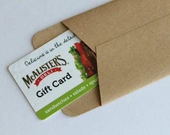 Gift Card Sized Envelopes - Set of 3 - Kraft Recycled Paper -Holidays Christmas Stocking Stuffer