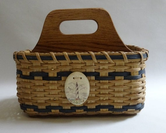 Silverware Basket / Paper Plate Basket / Divided Basket / Napkin Basket /  Organizer Basket / Utensil Basket-Nautical