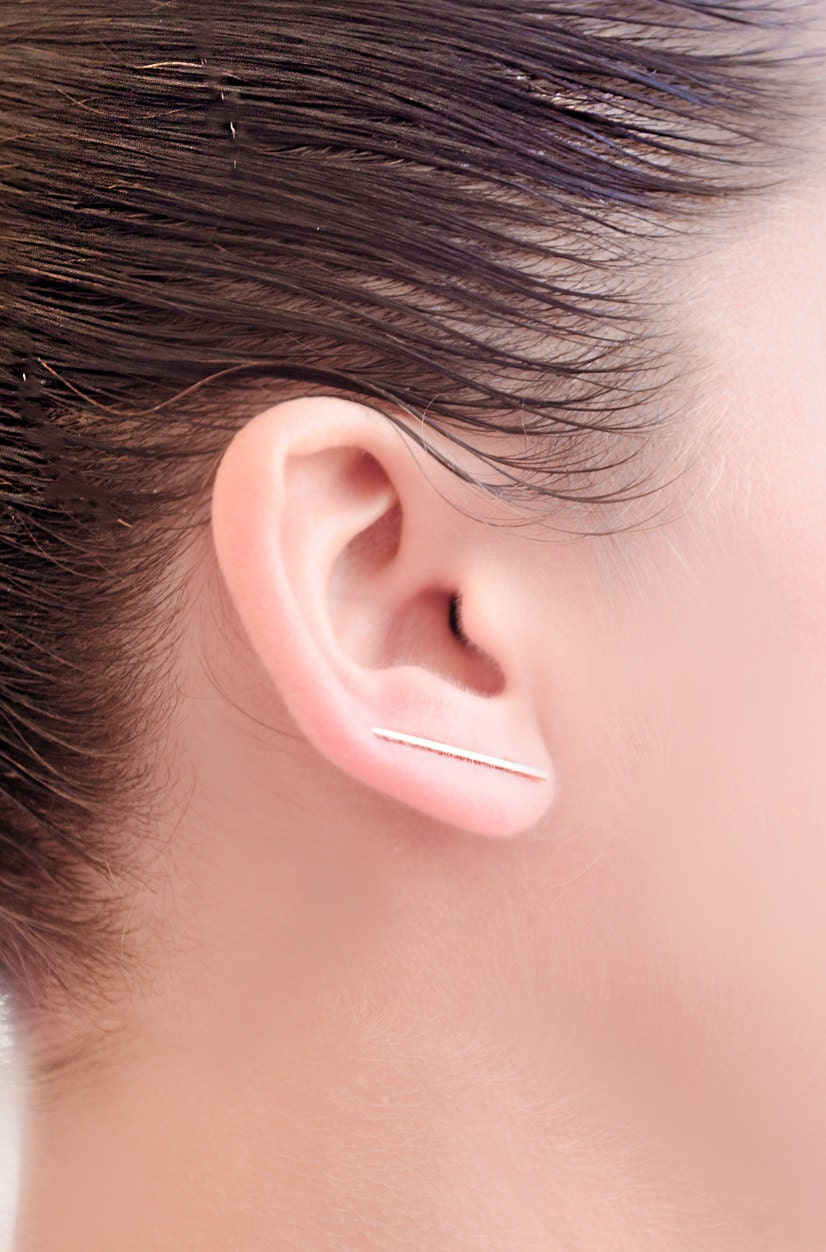 Rose Earring Rose Gold Filled Bar Ear Cuff