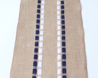 July 4th Burlap Table Runner with Navy Blue & White Ribbons - Nautical Table Accessory - Coastal Living