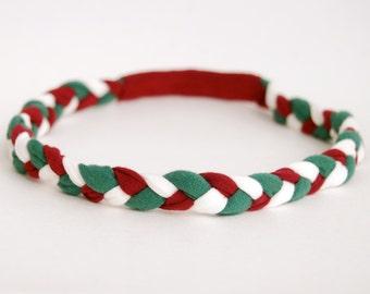 Holiday Headband - Green Red White - Eco Friendly Braided Headband - Organic Clothing