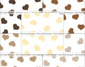 "HEART CONFETTI (100 pc) -- 1/2"" or 3/4"" -- Dark/Chocolate, Brown, Kraft, Tan, Ivory/Cream"