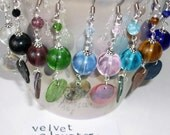 One Pair of Bead, Shell and Metal Dangle Earrings 2.5 inches long, 9 Color Options, 3 Metal Options