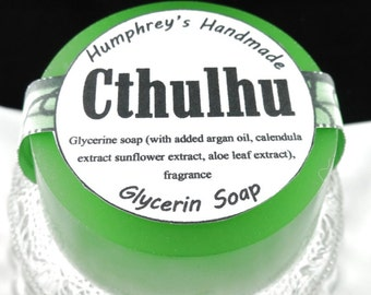CTHULHU Shave Soap, Unisex Ocean Citrus and Soft Woods Glycerin Soap, Green Shave & Shampoo Soap, Round Soap Puck, HP Lovecraft Beard Wash