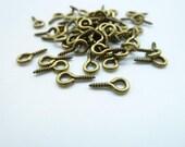 300 pcs 10x5mm Antique Bronze  Round Rings Finished Screw Eye Hook EyeHook Pins Eyepin clasps