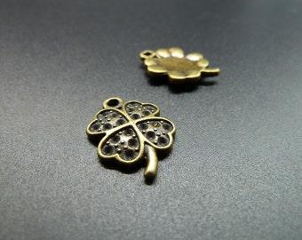 20pcs 15x17mm Antique Bronze Lovely Mini 4 leaves Clover Charm Pendant c3521