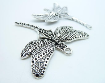 4pcs 50x55mm Antique Silver Huge Dragonfly Charm Pendant c3842