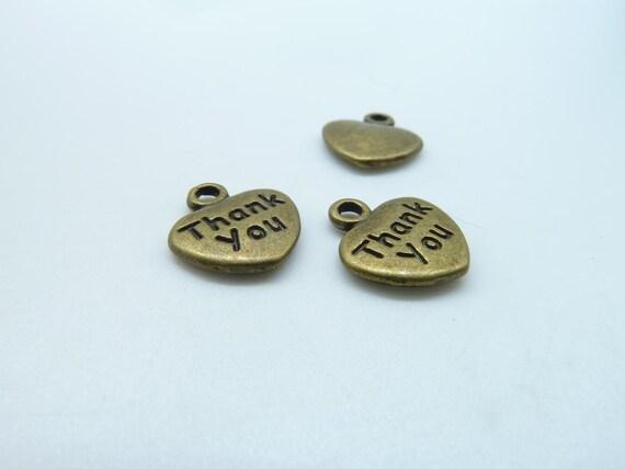 """30pcs 10x12mm Antique Bronze Mini Heart """"Thank You"""" Charms Pendant c3292"""