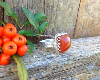 Boho Luxe Carnelian and Sterling SIlver Crown Bezel Set Statement Ring. Cocktail ring, Bohemian, 100% handmade, metalsmith Outlander
