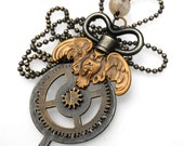 VALENTINE'S DAY Sale!! Steampunk/Rock n' Roll ~ Owl Key Mechanical Gear w/Magical Rutile Crystal Ball Necklace, Handmade Jewelry in NYC