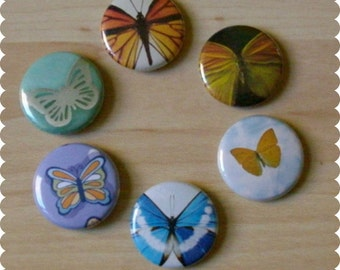 Butterfly Pins, Magnets, or Thumb Tacks - Set of 6 - Home, Office, Organize Desk