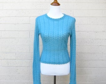 Vintage Lacy Knit Soft Blue Sweater Scalloped Trim Mohair Small