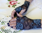 Lace Gloves in Black , stretch lace, fingerless lace gloves in dark blue with blue floral pattern.  Ready to ship.