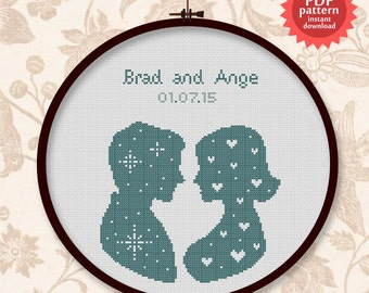 Wedding silhouette PDF cross stitch pattern  - Customisable design!