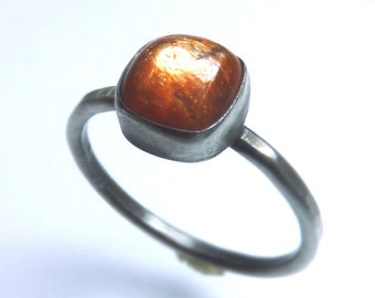 Sunstone and oxidized sterling silver Ring- made to order