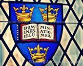 Sewanee stained glass window art photo, three crowns and Latin, 'Illuminate Me' - All Saint's Chapel
