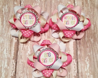 Loopy Flower Hair Clip with Little sister, Middle sister or Big sister Bottle Cap
