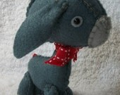 Grey Felt Donkey with Red Bow