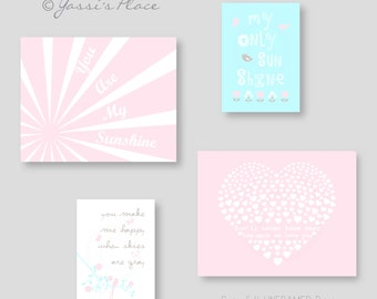 Pink and Blue Nursery art, You Are My Sunshine, Baby Girl Nursery Wall Decor, flowers. bird, heart by YassisPlace UNFRAMED PRINTS