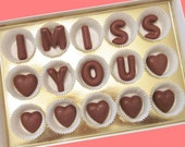 Long Distance Relationship Valentines Day Love Gift Boyfriend Girlfriend Men Women Gift I Miss You Personalized Name Milk Chocolate Letters