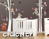 Deer, Teddy Bears, Birds and Trees Wall Decal -  Woodland Nursery Wall Decals, Baby Nursery Decal and Baby Nursery Sticker -  PLFR060