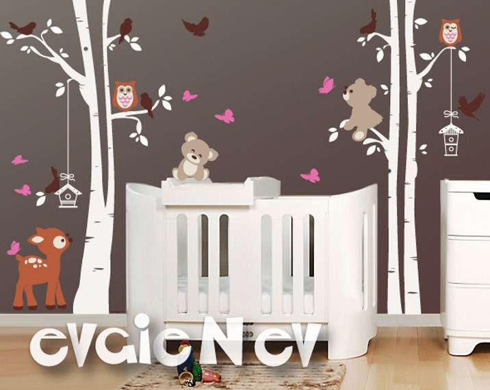 Baby Wall Stickers Deer Teddy Bears Birds And Trees Wall - Wall decals baby room