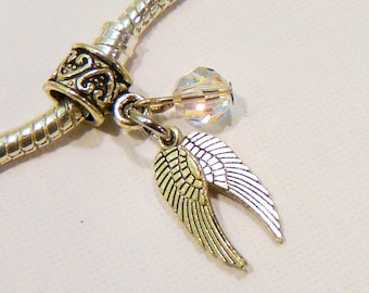 Color Choice Crystal  Angel Wings Charm Bead for fits Pandora Style European Bracelets