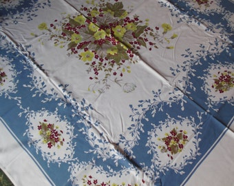 Gorgeous Steel Blue and Burgandy Floral Tablecloth