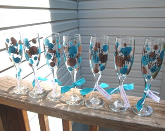 7 bridesmaid flutes, wedding party flutes, girls trip, bachelorette, teal and brown