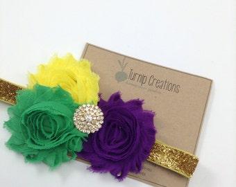Mardi Gras Headband Purple Headband Green & Yellow Headband Feather Headband Gold Glitter Photo Prop Carnival Headband Carnivale