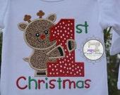 1st Christmas Boys First Christmas Bodysuit First Christmas Reindeer Baby's First Christmas