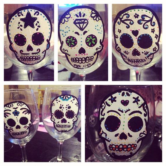 Sugar skull painted wineglass