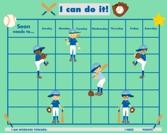 PRINTABLE PERSONALIZED Child Reward/Chore Chart - Boys' Baseball