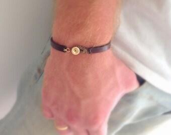 Gift for men, Gift for him. Leather men bracelet, Leather bracelet, Gold and leather men bracelet, Men bracelet, For men