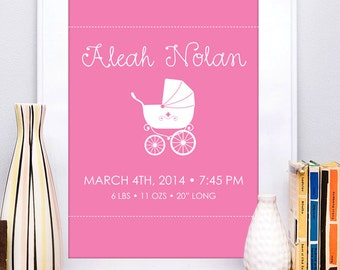 Custom Birth Announcement Art Print , Birth Stats Art Print for Baby Girl Nursery
