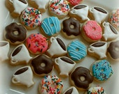 Coffee and donut cookies - 2 dozen mini cookies - Valentine cookies