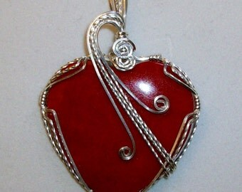 Red Sponge Coral Heart Pendant