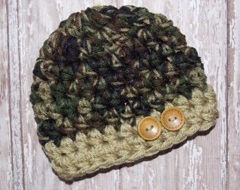 Chunky baby hat - camo green - photo prop - newborn  size - made to order