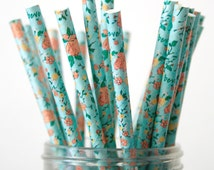 Paper Straws . Aqua Blue Peach Coral Retro Floral . spring easter / bridal shower decoration / mason jar buffet table / wedding party decor