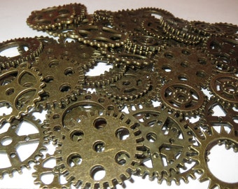 "40g  3/8""- 1"" Gears 25+ Pieces Lot New Steampunk Watch Parts Clock Wheels"