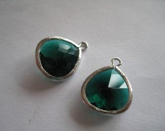 2 Emerald Green Gemstone Drops