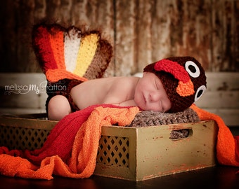 Newborn turkey  diaper cover , wings and hat set Newborn photo props photography thanksgiving