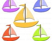 Sail Boat Clipart Clip Art Digital Scrapbooking Commercial Use - printable clipart - Instant Download  - DP300