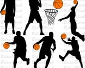 Basketball Players Silhouettes Clipart Clip Art Digital Scrapbooking Commercial Use - printable clipart - Instant Download  - DP349