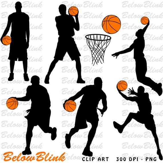 Basketball Players Silhouettes Clipart Clip Art Digital Scrapbooking